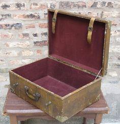 FOR SALE: Vtg Edwardian Deco Style GATOR SKIN Leather Strap Brass Latch Luggage Suitcase #ArtDeco