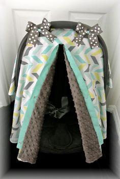 car seat cover, car seat canopy, minky, chevron, teal, gray, polka dot, baby, bows, chevron, infant girl, baby girl, baby boy, infant boy