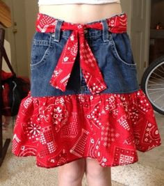 Use an old pair of jeans to make a skirt