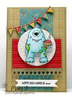 Handmade monster birthday card created by Mary J. This card uses texture & dimension wonderfully. I smiled just looking at it. Boy Cards, Kids Cards, Cute Cards, Birthday Cards For Boys, Handmade Birthday Cards, Monster Cards, Homemade Cards, Making Ideas, Cardmaking