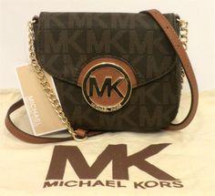 5c0bfebaadeca1 Michael Kors Fulton Brown Gold PVC MK Logo Signature Small Cross body Bag  NWT #MichaelKors