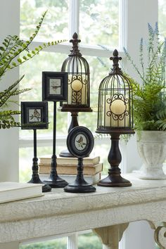 Create a simplistic vignette with antique look pedestal nature frames and finial topped wire bird cages!