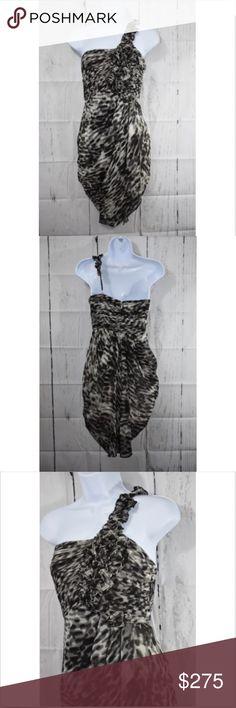 BCBG Maxazaria Black Comb Single Ruffle Strap BCBG Maxazaria Black Comb  Single Ruffle Strap Dress Side