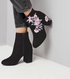 Black Suedette Floral Embroidered Boots | New Look
