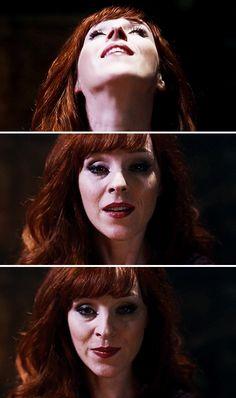 [gifset] 10x10 The Hunter Games #SPN #Rowena - ugh, I love her so much! that little smirk!