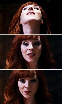 [gifset] 10x10 The Hunter Games #SPN #Rowena - ugh, I love her so much!  that little smirk!