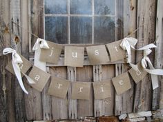 Crafty wedding decorations...this would be cute as outdoor home decor for other occasions or holidays with different sayings & color bows.