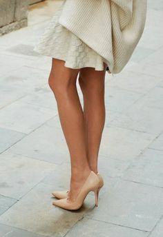 Style | Fashion ........ Kazar Nude Leather Pointed Toe Heels....