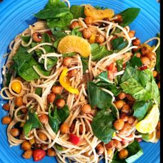 Chili roasted chick pea and clementine whole wheat pasta salad with spinach