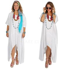 SUNHEART WHITE HI-LOW MERMAID HERA ASYM TUNIC OR DRESS SML-MED-XL-1X-2X-3X #SUNHEARTBOHOGODDESSCLOTHING #lagenlooktunichilow #ANYTIME