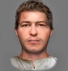 A photo of the reconstructed face of a 6th century man found at a crypt in EDINBURGH. He has suffered a violent death