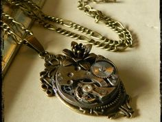 Beautiful Black Rose Steampunk Clockwork Necklace