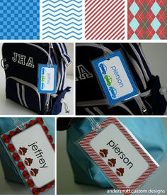 Fabulous Features by Anders Ruff Custom Designs: {FREE} DIY Bag Tag Template - Great for Back To School