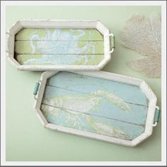 beach cottage trays ~ {I need to make something like this...too cute!}