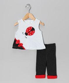 Navy Polka Dot Ladybug Tank & Pants