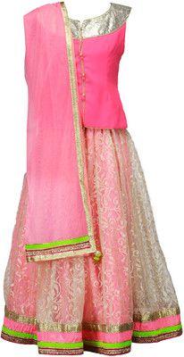 Peaches Self Design Girl's Lehenga Choli - Buy Flourscent pink Peaches Self Design Girl's Lehenga Choli Online at Best Prices in India | Flipkart.com