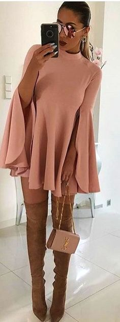 Pair Nude Boots With A Nude Pink Dress ★ How to wear over the knee . Brown Thigh High Boots, Thigh High Boots Outfit, Over The Knee Boot Outfit, Dress With Boots, The Dress, Dress Skirt, Emily Ratajkowski, Cozy Winter Outfits, Spring Outfits