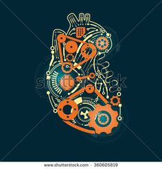 graphic of a heart in technological look