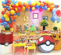 Pokemon Birthday Cake, Pokemon Party, Pokemon Balloons, Nerf Gun Cake, Balloons Galore, Sonic Party, Pikachu, Birthday Party Decorations, Party Time