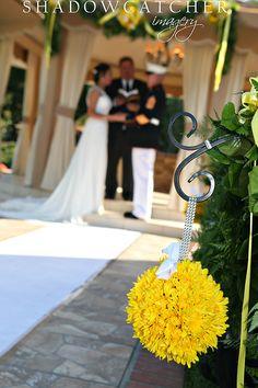 Wedding flowers, yellow, pomander, aisle decor