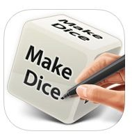 MAKE DICE https://itunes.apple.com/be/app/make-dice-lite/id379873571?mt=8 Teerlingen waarvan je de kanten zelf kunt ingeven met getallen of cijfers.  Where should we go? Who should it be? What do we eat? We all come across a situation where decisions are hard to make. How about having a dice make the decision for you?  We support all languages.