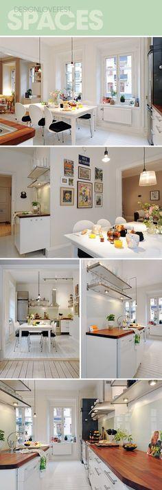 white kitchen with butcher block counters #kitchen #white #butcherblock