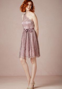One Shoulder A line Above Knee Sleeveless Lace Bridesmaid Dress With Sash/ Ribbon - Angeldress.co.uk