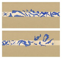 "Henri Matisse [France] (1869 - 1954) ~ ""The Swimming Pool (La Piscine)"", late summer 1952. Maquette for ceramic (realized 1999 and 2005). Gouache on paper, cut and pasted, on painted paper (Overall 185.4 x 1653.3 cm. Installed as nine panels in two parts on burlap-covered walls 345.4 cm high. Frieze installed at a height of 165 cm). 