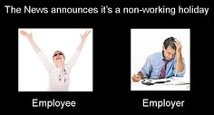 Employee's and employer's reaction on non-working holiday.