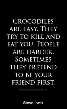 Heartfelt Quotes: Crocodiles are easy. They try to kill and eat you. People are harder. Sometimes they pretend to be your friend first.