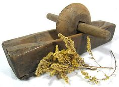 Antique 19thC WOODEN HERB GRINDER WHEEL Primitive Treen Mortar Pestle aafa