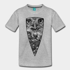 Le regard intense d'une chouette Chevêche (Athene noctua). Dessin à la plume et à l'encre, en noir et blanc. | Impression sur Tee Shirt