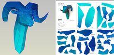 Rams Head papercraft platilla cabeza de carnero par PAPELUZA