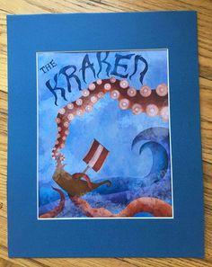 Kraken Sea Monster Kids Art Print by ErinSunshineKenna on Etsy