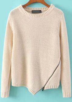 Beige Long Sleeve Zipper Knit Sweater 29.33