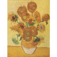 40x26 Sunflowers by Van Gogh $ 99 60% off! >> This would look lovely on my striped wall!
