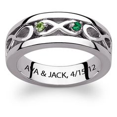 Buy Sterling Silver Couple's Genuine Birthstone Infinity Engraved Ring at Limoges