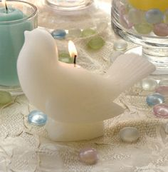 Bulk Set of 12 Ivory Song bird candle wedding reception centerpieces baby showers home decor