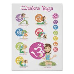 Chakra Yoga Girls Illustration Vertical Poster