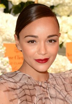 Pretty red lip on Ashley Madekwe