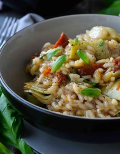 Artichoke and sun-dried tomato risotto
