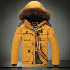 Top Quality Racoon Fur Hoody Men's Premium Down Jumper Coat Winter Warm Lucky Goose Down Jackets thick Outwear.