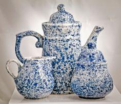 Blue Spongeware Coffee Set Tea Set