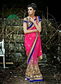 Contemporary Beige & Pink Embroidered Saree