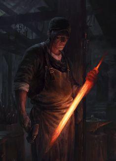 Blacksmith by Tomas Duchek Fantasy Rpg, Dark Fantasy Art, Medieval Fantasy, Fantasy Artwork, Dark Art, Fantasy Inspiration, Character Inspiration, Fantasy Character Design, Character Art
