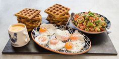 Try this Corn Waffles with Avocado Salsa recipe by Chef Barb Dunn. This recipe is from the show The Great Australian Bake Off. Bake Off Recipes, Waffle Recipes, Baking Recipes, Bread Recipes, Great Australian Bake Off, Pancakes And Waffles, Salsa Recipe, A Food, Food Processor Recipes