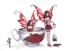 Amy Brown Print Fairy Tea and Strumpets Cup Faeries NEW in Collectibles, Fantasy, Mythical & Magic, Fairies Gothic Fantasy Art, Fantasy Artwork, Amy Brown Fairies, Fairy Pictures, Fairy Figurines, Love Fairy, Mythological Creatures, Fairy Art, Magical Creatures