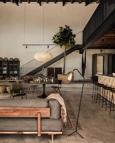 love this - open warehouse loft modern concrete floor ceiling beams - living space