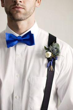 Cobalt blue bow tie | Katie Jane Photography | see more on: http://burnettsboards.com/2014/11/brunch-wedding-mimosa-bar-crepe-cake/