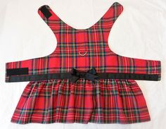 Dog Harness Dress  Red Tartan Plaid by piddleronthewoof on Etsy